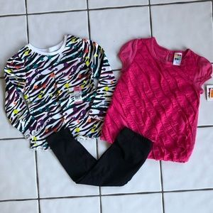 Lot of 3 NWT Leggings, Zebra Print & Pink Ruffle